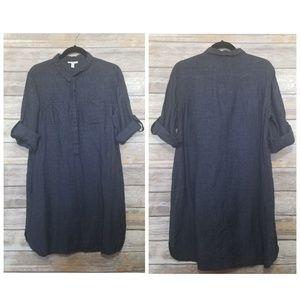 Eileen Fisher Linen Roll Tab Sleeve Tunic Dress